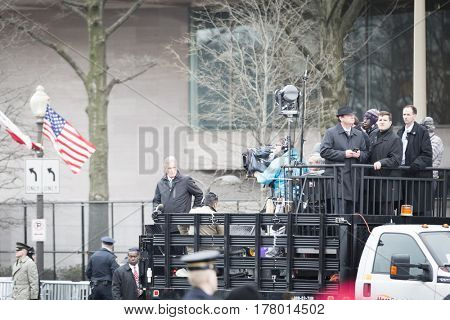 45th Presidential Inauguration, Donald Trump: John Roberts, Chief White House Correspondent for Fox News Channel reports live from the back of a pick up truck, WASHINGTON DC - JAN 20 2017