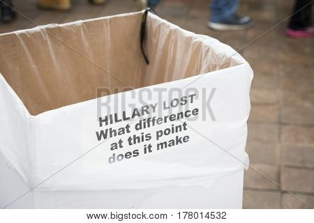 45th Presidential Inauguration Donald Trump: Hillary Lost What Difference At This Point Does It Make sticker on a garbage can, a comment Clinton made about Benghazi attack WASHINGTON DC - JAN 20 2017