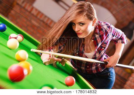 Young Woman Having Fun With Billiard.