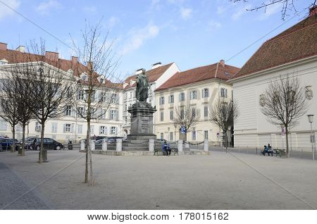 GRAZ, AUSTRIA - MARCH 19, 2017: Monument of emperor Franz I at Plaza of the Liberty in Graz the capital of federal state of Styria Austria.