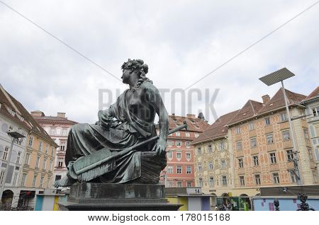 GRAZ, AUSTRIA - MARCH 19, 2017: Bronze sculpture in the Main Square of Graz the capital of federal state of Styria Austria.