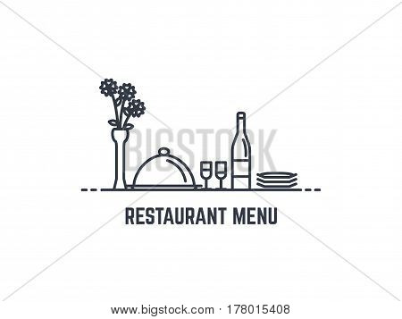 Restaurant menu banner. Bottle of wine cloche tray with lid two glasses and plates. Vase with flowers on the table. Flat thin line style. Romantic dinner concept. Bon appetit.