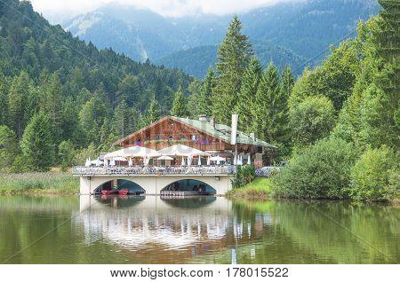 Lake Pflegersee in Garmisch-Partenkirche in upper Bavaria,Germany