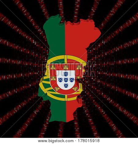 Portugal map flag on red hex code burst 3d illustration