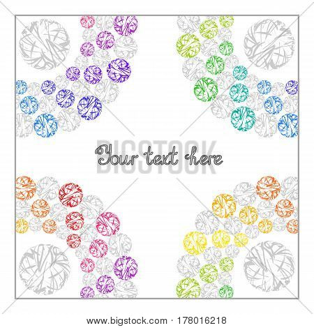 Bright Rainbow Templates for Text, Presentation, Cover. Abstract Frame with Colorful Whirling Circles on White Background.