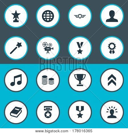Vector Illustration Set Of Simple Achievement Icons. Elements Currency, Trophy, World And Other Synonyms Profile, Cash And Diagram.