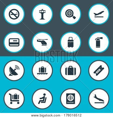 Vector Illustration Set Of Simple Transportation Icons. Elements Antenna, Credit Card, Cigarette Forbidden And Other Synonyms Baggage, Satelite And Cart.