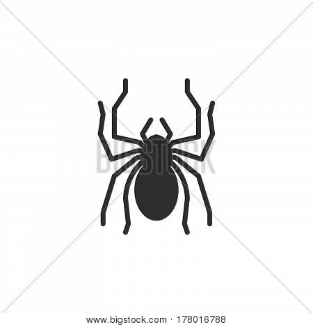 Spider icon vector filled flat sign solid pictogram isolated on white. Symbol logo illustration