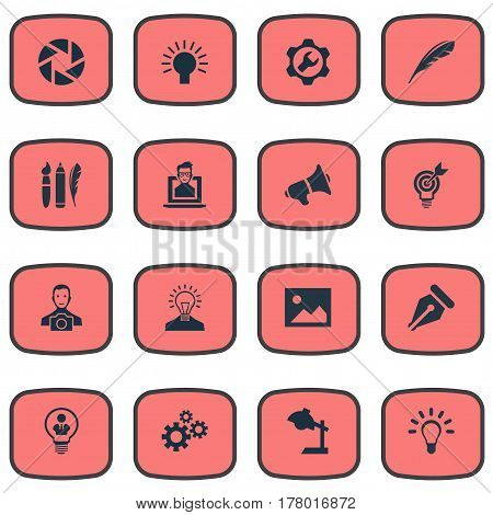 Vector Illustration Set Of Simple Visual Art Icons. Elements Writing Tool, Electric, Cameraman And Other Synonyms Bullhorn, Picture And Creativity.