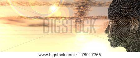 Concept or conceptual 3D illustration abstract wireframe young human female or woman head, sunset sky background banner