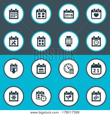 Vector Illustration Set Of Simple Calendar Icons. Elements Snowflake, Special Day, Intelligent Hour And Other Synonyms Special, Agenda And Repair.