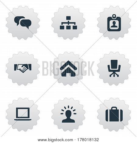 Vector Illustration Set Of Simple Commerce Icons. Elements Work Seat, Chatting, Computer And Other Synonyms Identity, Suitcase And Partnership.