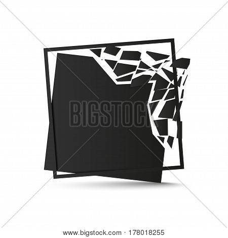Shattered black square with frame isolated on white background. Vector illustration