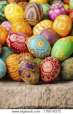 Easter eggs, Paschal eggs, decorated with beeswax - to celebrate Easter. Its old tradition in Lithuania, Eastern Europe.