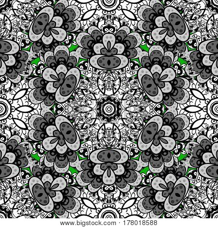Rough royal luxury white baroque damask vintage. Vector rough pattern with antique floral medieval decorative leaves and white pattern ornaments on green background.