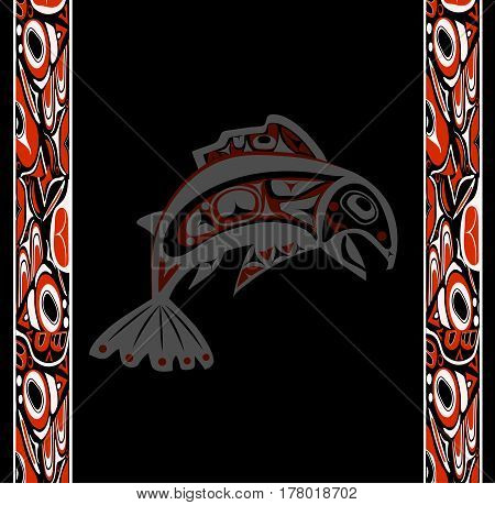 native salmon Vector fish in red on black background with native ornaments