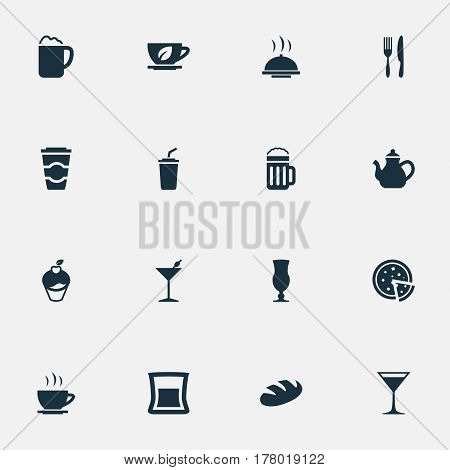 Vector Illustration Set Of Simple Food Icons. Elements Beer, Pub, Espresso And Other Synonyms Late, Glass And Shake.