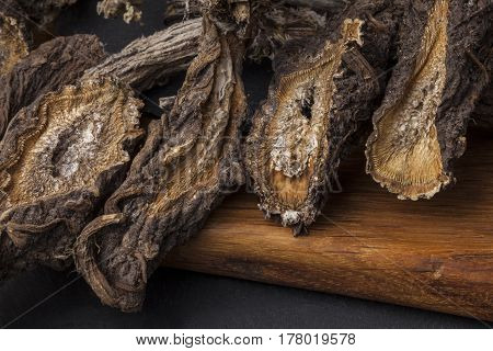 Burdock (Arctium) - medical plant. Dried roots are used for the hair treatment and care.