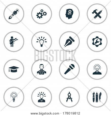 Vector Illustration Set Of Simple Creative Thinking Icons. Elements Gears, Interview, Writing Tool And Other Synonyms Boost, Hammer And Discussion.