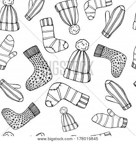 Outline Female knitted accessories seamless pattern on Sketchy style .Winter wear.Mittens, gloves, stockings, socks, hats, scarf with ornament.Backdrop, background, fabricWallpaperHipster Fashion Vector