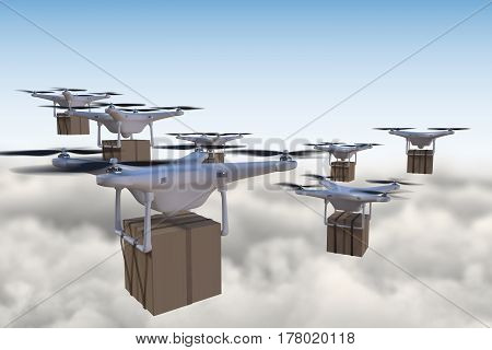 3D Rendered Illustration Of Many Drones Flying Above The Clouds