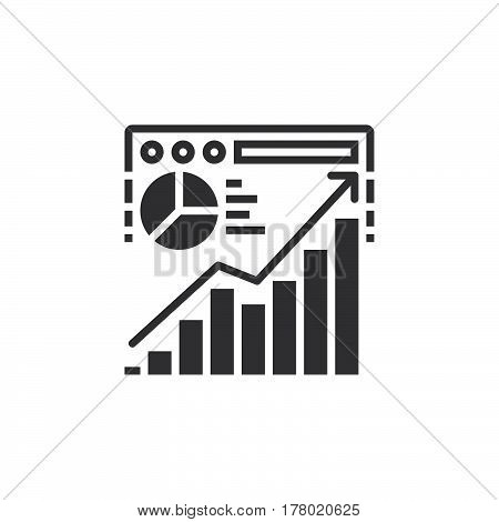 Website traffic analysis icon vector filled flat sign solid pictogram isolated on white logo illustration