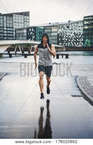 Athlete Exercising Jogging Outdoors