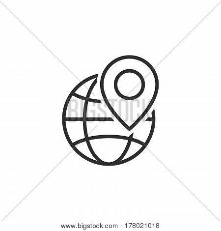 Local seo symbol. Globe and location marker line icon outline vector sign linear pictogram isolated on white. logo illustration
