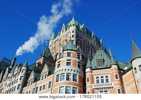 Chateau Frontenac, dominate the skyline of Quebec City, a French-style castle hotel builded in 1893, landmark of Quebec City, Canada.