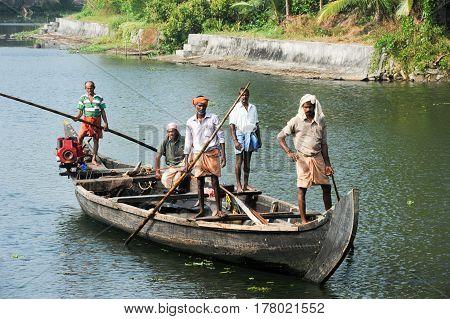 Fisherman Cruising On A Boat