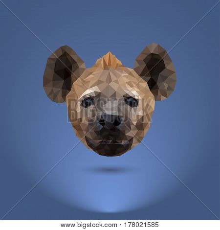 Low-poly predator. The head of a hyena. Suitable for printing on clothing and t-shirts