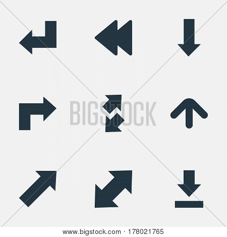 Vector Illustration Set Of Simple Cursor Icons. Elements Rearward, Indicator, Raise-Fall And Other Synonyms Falling, Backward And Upward.