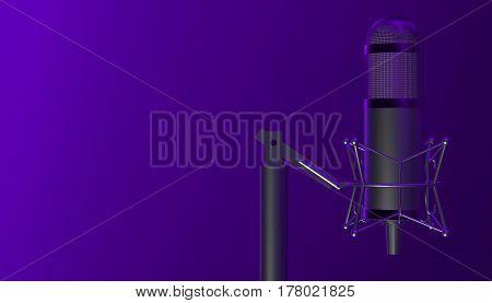 Retro modern aluminium music microphone. 3d render