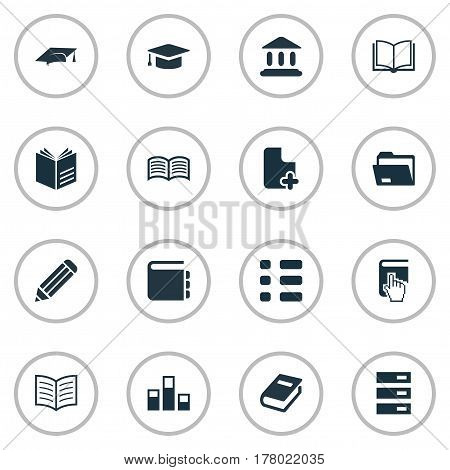 Vector Illustration Set Of Simple Knowledge Icons. Elements Notebook, Library, Literature And Other Synonyms Diary, Graduation And Pen.