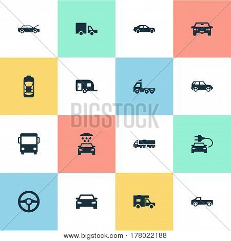 Vector Illustration Set Of Simple Automobile Icons. Elements Repair, Traffic, Vehicle And Other Synonyms Electric, Shipment And Bus.