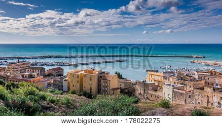 Sciacca, Italy - October 18, 2009: Panoramic View Of Coastline In Sciacca, Italy
