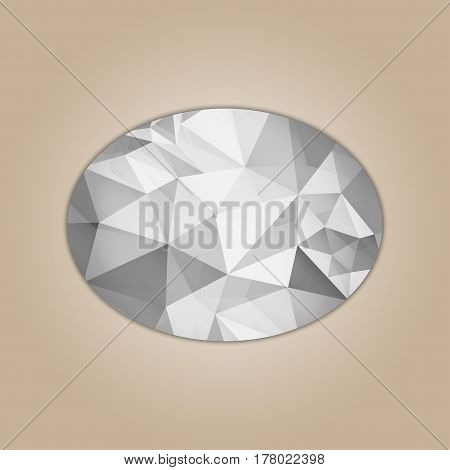 Diamond ellipse shape grayscale color abstract polygonal vector illustration isolated on beige background
