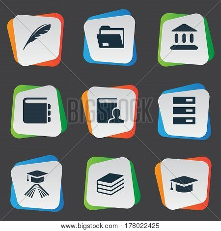 Vector Illustration Set Of Simple Reading Icons. Elements Journal, Documents, Pile And Other Synonyms Feather, Quill And Literature.