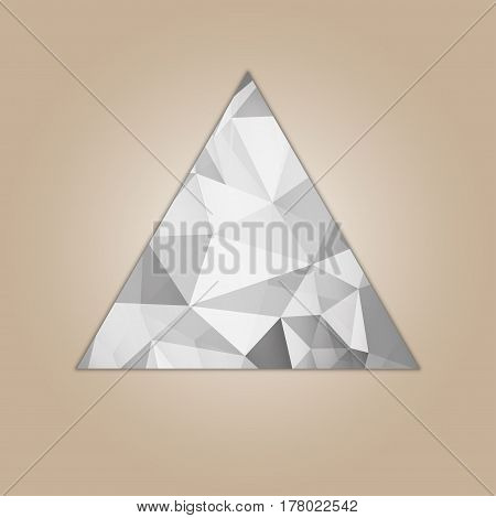 Diamond triangle shape grayscale color abstract polygonal vector illustration isolated on beige background