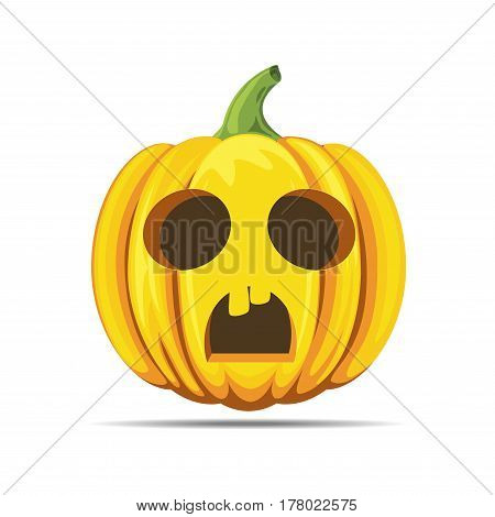 Halloween pumpkin scared vector isolated on white background