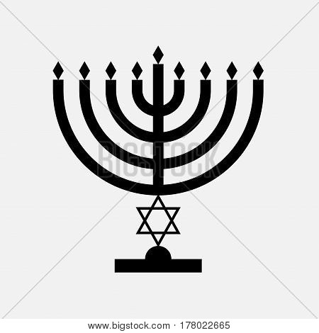 Menorah icon black with star of David on stick stand vector isolated