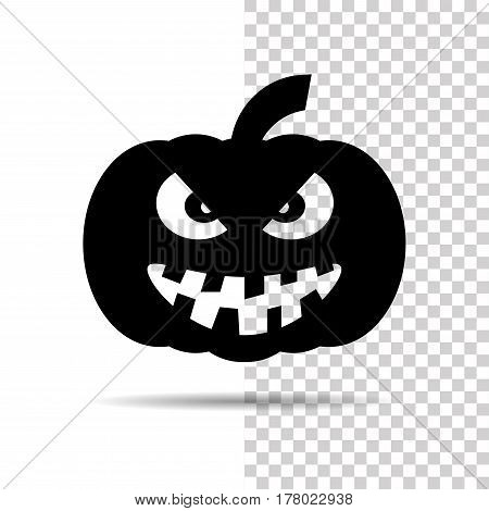 Halloween pumpkin black grinning icon isolated over white and transparent background