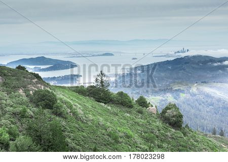 San Francisco Bay from Mount Tamalpais East Peak. Views include San Francisco skyline, San Francisco-Oakland Bay Bridge, Alcatraz Island, Angel Island, Tiburon, Sausalito, and East Bay mountains.