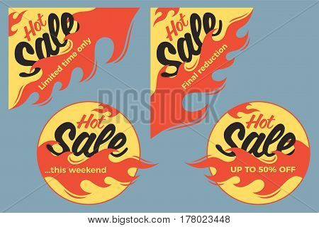 Hot sale price offer deal vector labels stickers. Circle form with flame. Vector illustration