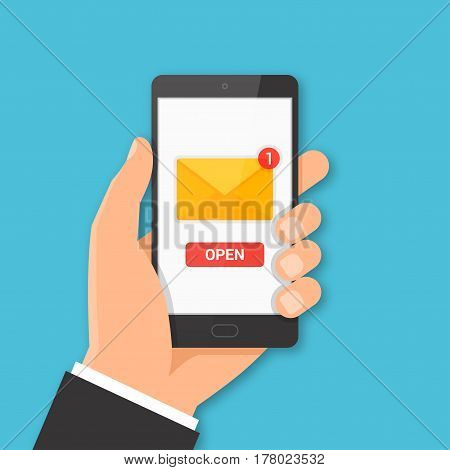 Smartphone with new message concept. Hand holding smartphone with email symbol on the screen. Vector illustration.