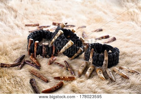 Paracord Bracelet With antler deer Elk skin