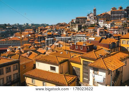 Old towns rooftops of Porto, Portugal.