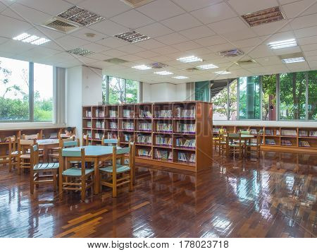 Yilan Taiwan - October 14 2016: Large rooms at the public library