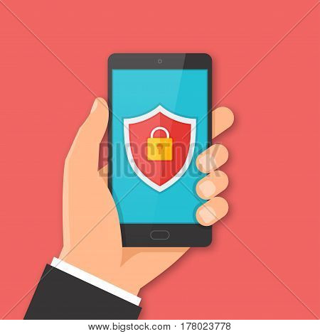 Mobile security concept. Hand holding smartphone with shield sign on the screen. Vector illustration.