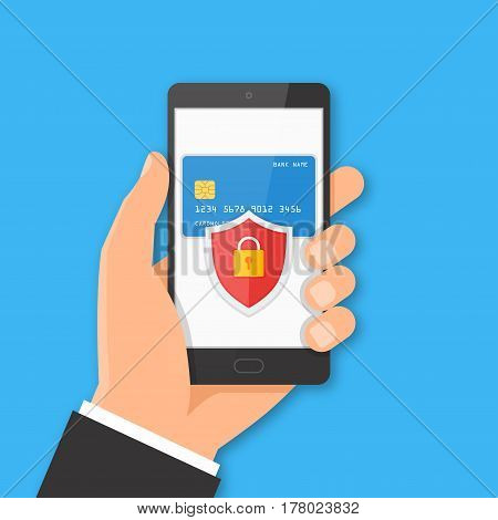 Mobile payment security concept. Hand holding smartphone with bank card and shield on the screen. Vector illustration.
